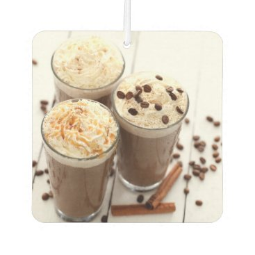 Coffee Themed Ice coffee with whipped cream and coffee beans car air freshener
