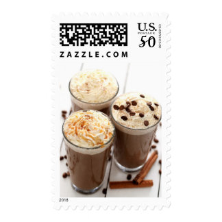 Ice coffee with whipped cream and coffee beans postage