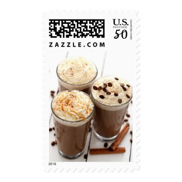 Coffee Themed Ice coffee with whipped cream and coffee beans postage
