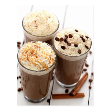 Coffee Themed Ice coffee with whipped cream and coffee beans postcard