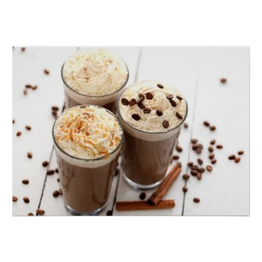 Coffee Themed Ice coffee with whipped cream and coffee beans poster