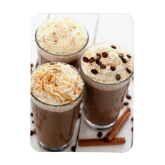 Ice coffee with whipped cream and coffee beans rectangular photo magnet