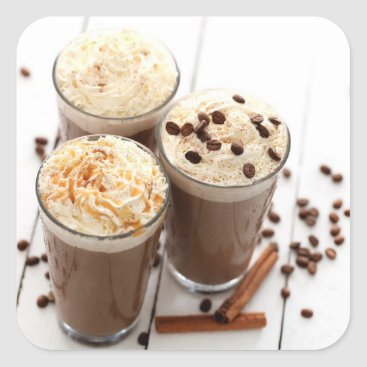 Coffee Themed Ice coffee with whipped cream and coffee beans square sticker