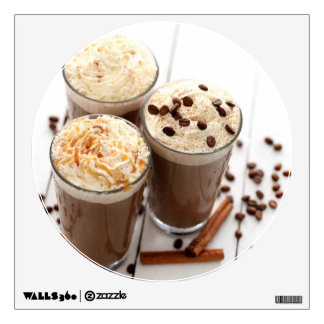 Ice coffee with whipped cream and coffee beans wall sticker