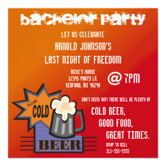 Ice Cold Beer Bachelor Party Invitation