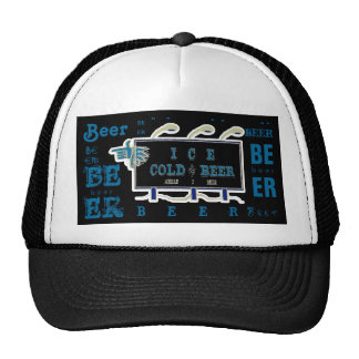 Ice Cold Beer Sign- Black and Blue 2 Trucker Hat