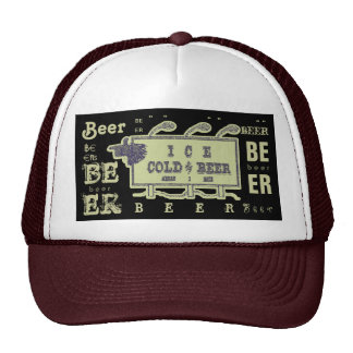 Ice Cold Beer Sign- Faded Yellow Trucker Hat