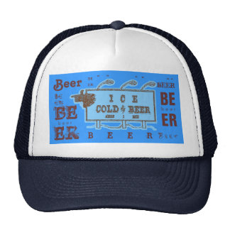 Ice Cold Beer Sign- Light Blue & Rust Red Trucker Hat