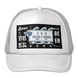 Ice Cold Beer Sign- White and Blue Trucker Hat