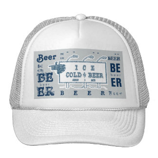 Ice Cold Beer Sign- White and Blue Style 3 Trucker Hat