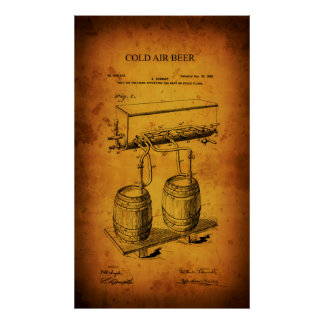 ICE COLD BEER TAP PATENT 1900 POSTER