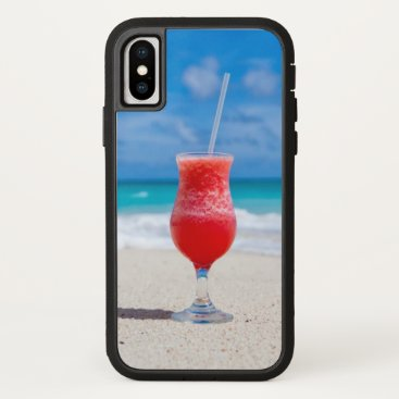 Beach Themed Ice Cold Drink on Tropical Beach iPhone X Case