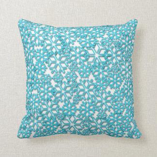 Ice Cold Snowflakes pattern Throw Pillows