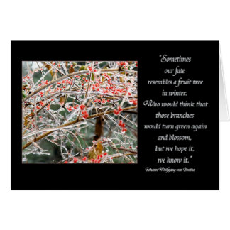 Ice covered branches & berries Goethe fate quote Card