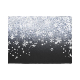 Ice Crackled Snowflakes Doormat