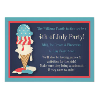 Ice Cream 4th of July Party Invitations