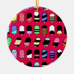 Ice Cream All Over – Colorful Repeating Pattern Ceramic Ornament