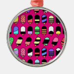 Ice Cream All Over – Colorful Repeating Pattern Metal Ornament