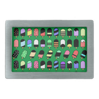 Ice Cream All Over – Colorful Repeating Pattern Rectangular Belt Buckle