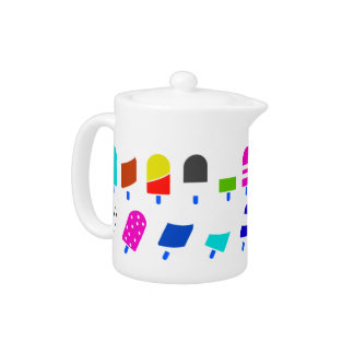 Ice Cream All Over – Colorful Repeating Pattern Teapot