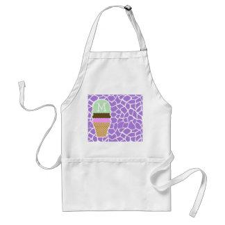 Ice Cream; Amethyst Purple Giraffe Animal Print Apron