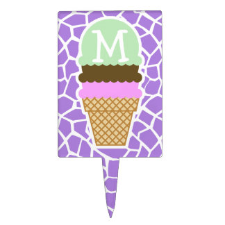 Ice Cream; Amethyst Purple Giraffe Animal Print Cake Topper