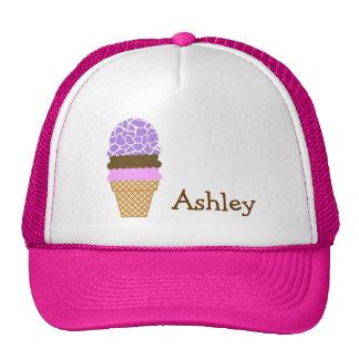 Ice Cream; Amethyst Purple Giraffe Animal Print Hat