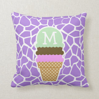 Ice Cream; Amethyst Purple Giraffe Animal Print Throw Pillow