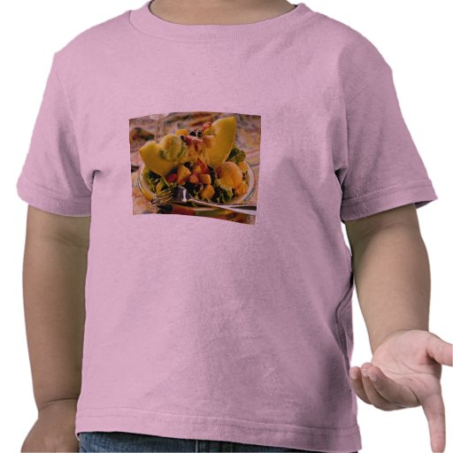Ice cream and berries on sliced melon t-shirts