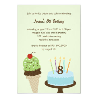 Ice Cream and Cake Birthday Invitation - Green