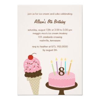 Ice Cream and Cake Birthday Invitation - Pink