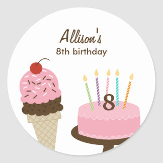 Ice Cream and Cake Favor Sticker or Envelope Seal