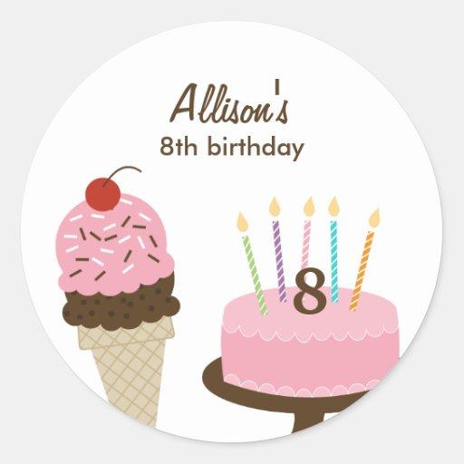 Ice Cream and Cake Favor Sticker or Envelope Seal Sticker