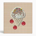 Ice Cream and Cherries 3 Ring Binder
