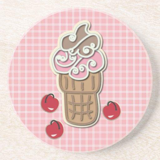 Ice Cream and Cherries Beverage Coasters