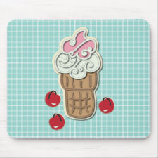 Ice Cream and Cherries Mousepads