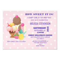 Ice Cream and Polka Dots Baby Girl Shower Invitation