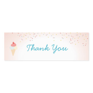 Ice Cream and Popsicle Summer party Thank you tag Double-Sided Mini Business Cards (Pack Of 20)
