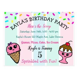 Ice Cream and Sprinkles Children's Birthday Party Postcard