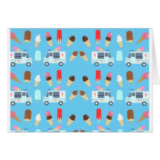 Ice Cream and Truck Pattern Greeting Card