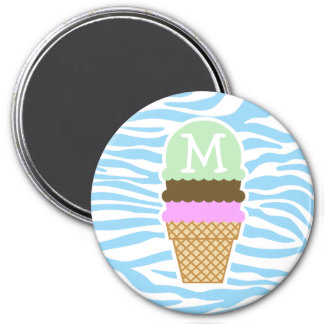 Ice Cream Baby Blue Zebra Animal Print 3 Inch Round Magnet