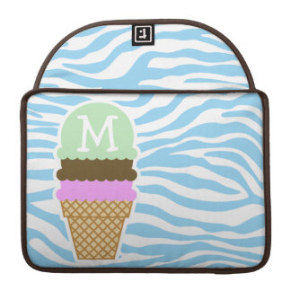 Ice Cream Baby Blue Zebra Animal Print Sleeves For MacBook Pro