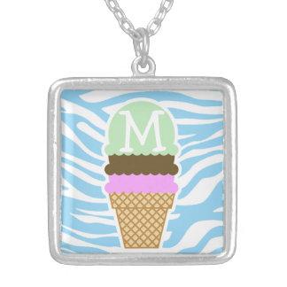Ice Cream Baby Blue Zebra Animal Print Necklace