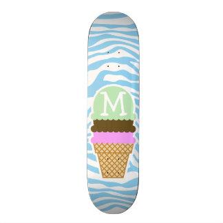 Ice Cream Baby Blue Zebra Animal Print Skate Deck