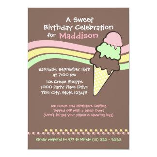 "Ice Cream Birthday and Sleep Over 5"" X 7"" Invitation Card"