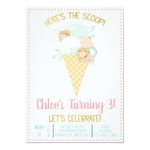 Ice Cream Birthday Invitations Announcements Zazzle