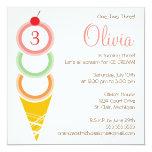 """Ice Cream Birthday Invitation 5.25"""" Square Invitation Card"""