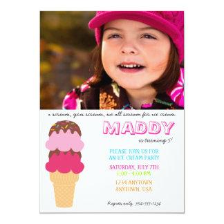 Ice Cream Birthday Invitation with Photo