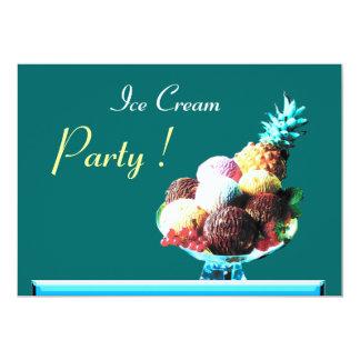 ICE CREAM BIRTHDAY PARTY 2, blue green 5x7 Paper Invitation Card