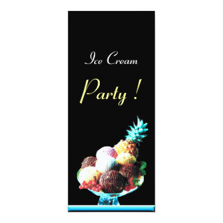 ICE CREAM BIRTHDAY PARTY 4X9.25 PAPER INVITATION CARD